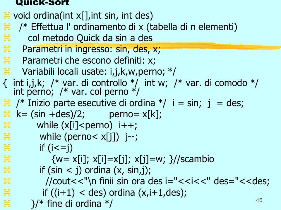 Quick-Sort void ordina(int x[],int sin, int des) /* Effettua l ordinamento di x (tabella di n elementi)